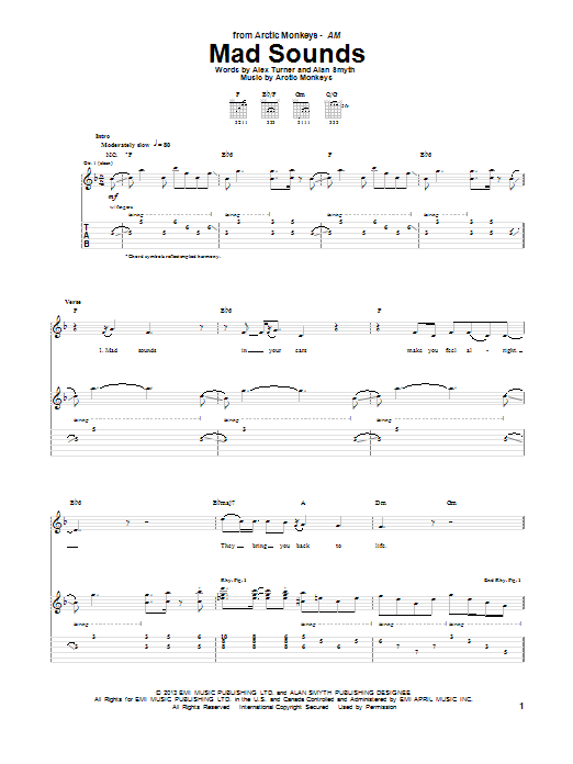 Tablature guitare Mad Sounds de Arctic Monkeys - Tablature Guitare