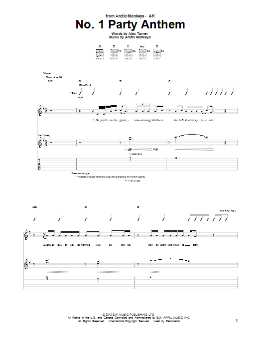 Tablature guitare No. 1 Party Anthem de Arctic Monkeys - Tablature Guitare