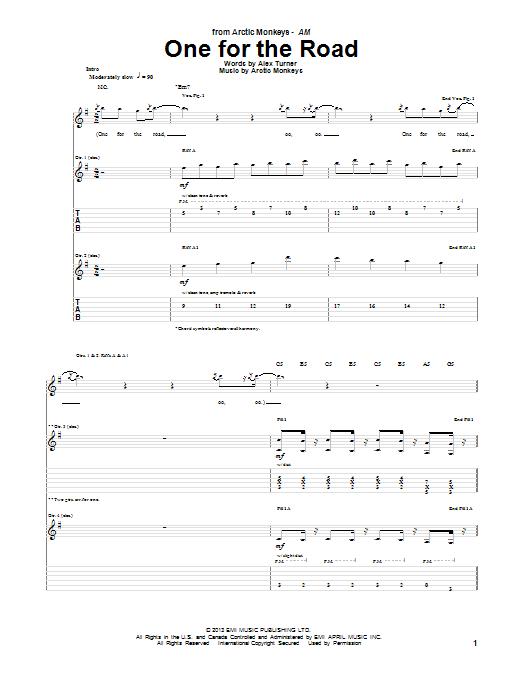 Tablature guitare One For The Road de Arctic Monkeys - Tablature Guitare