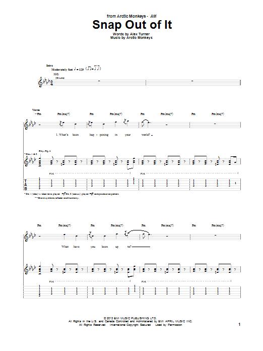Tablature guitare Snap Out Of It de Arctic Monkeys - Tablature Guitare