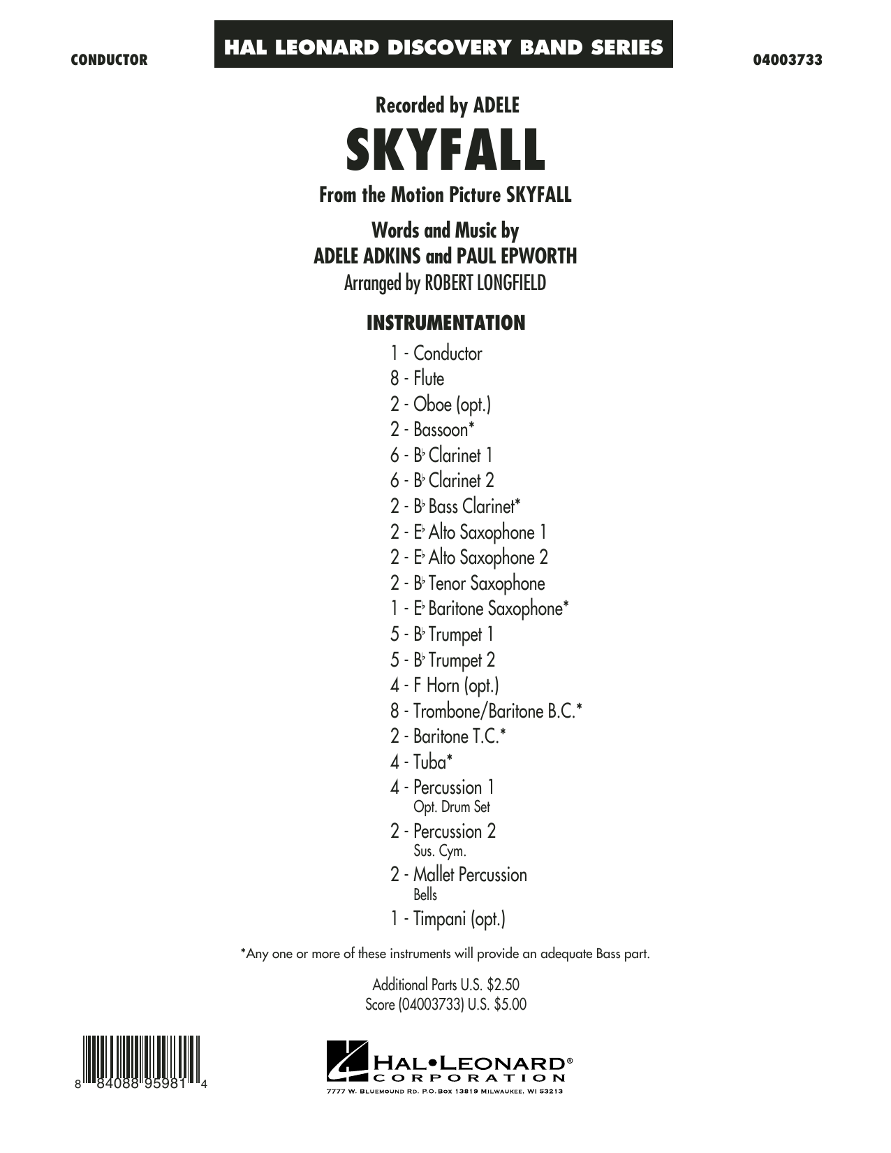 Skyfall (COMPLETE) sheet music for concert band by Robert Longfield
