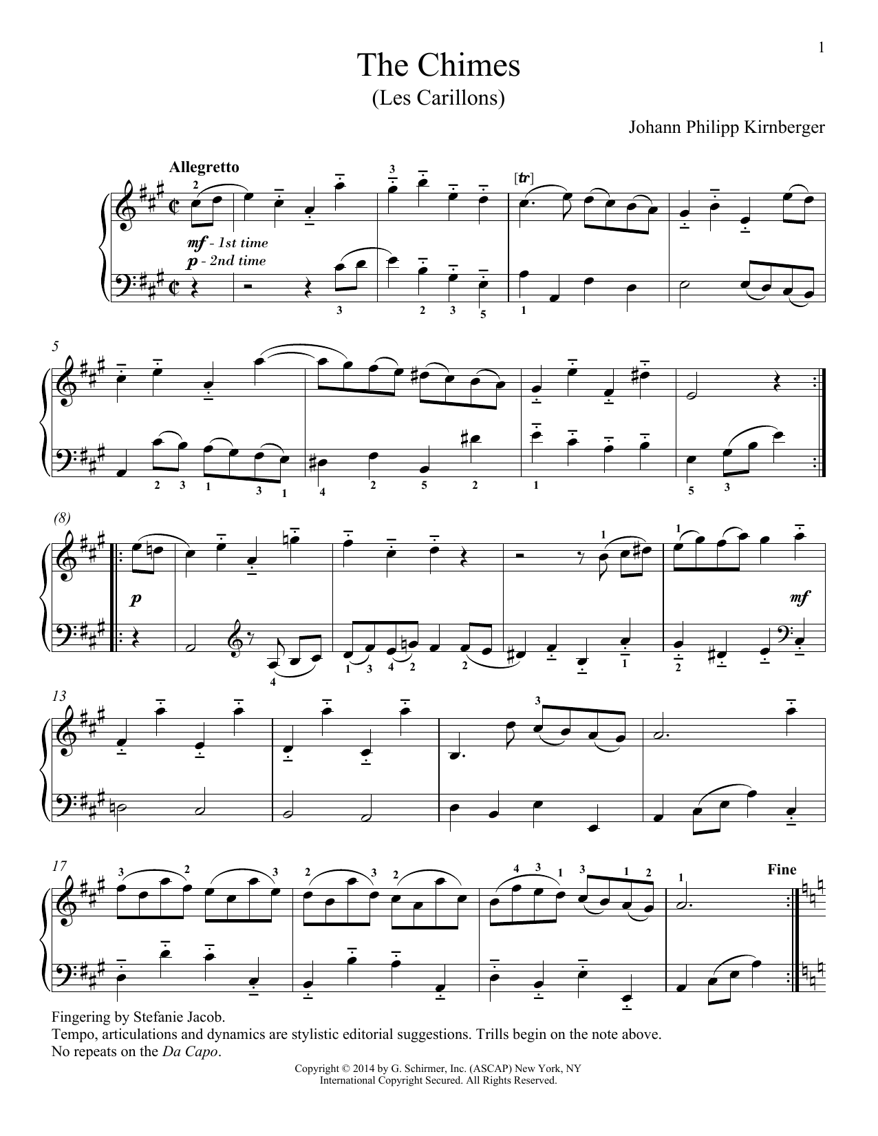 Les Carillons sheet music for piano solo by Richard Walters