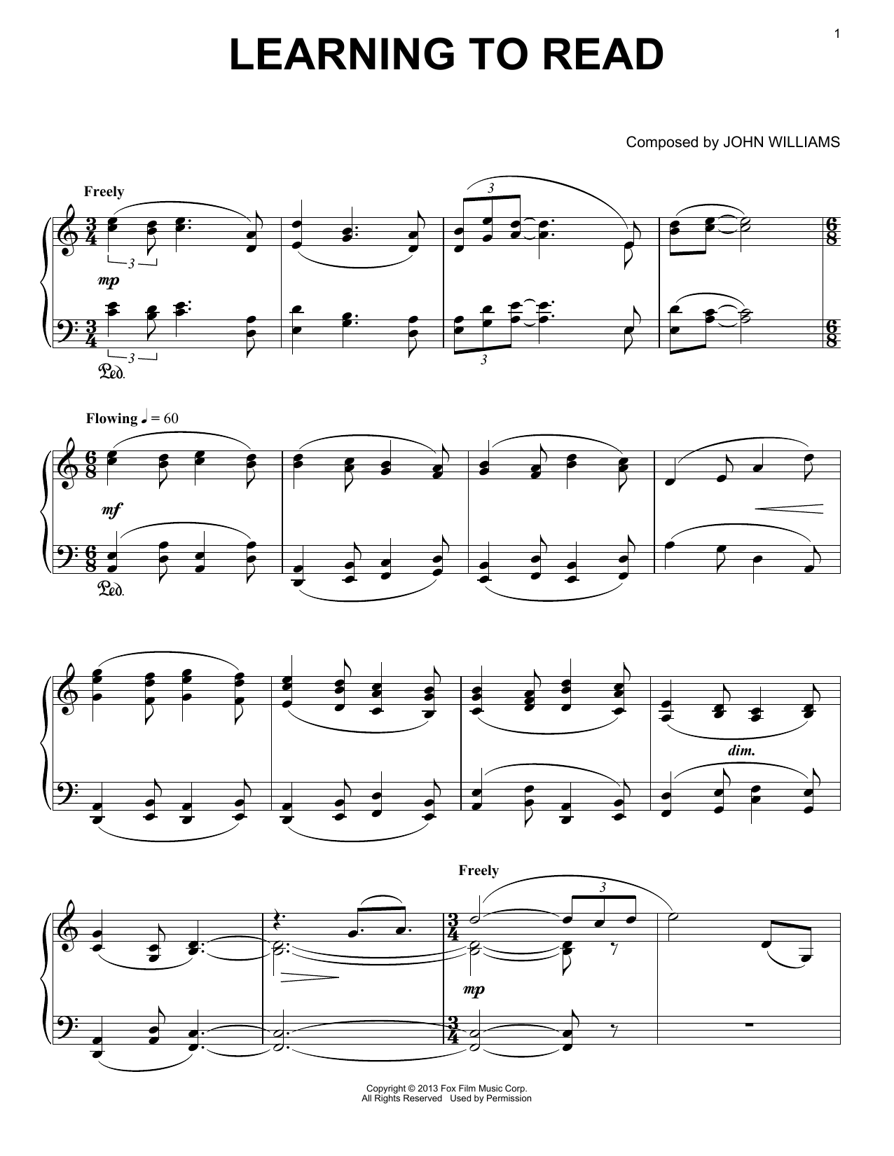 Learning To Read sheet music for piano solo by John Williams