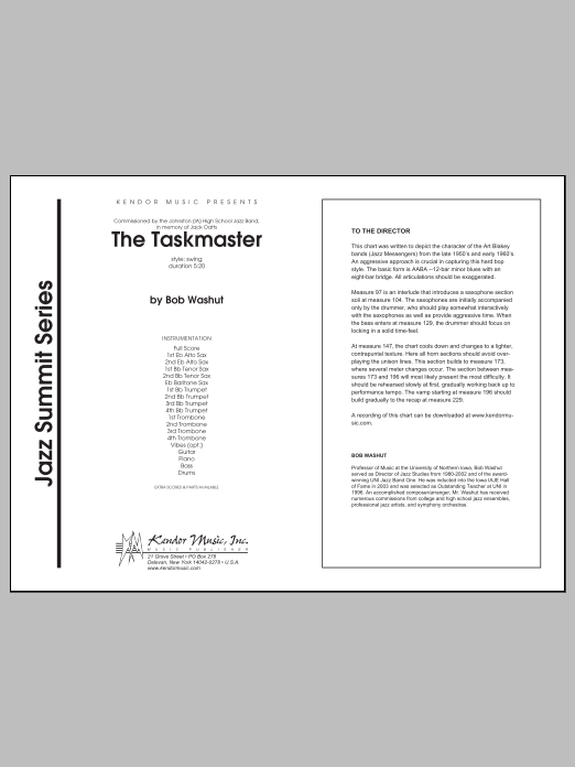 Taskmaster, The (COMPLETE) sheet music for jazz band by Washut