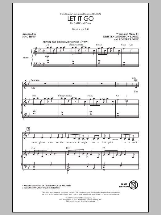 Let It Go (from Frozen) sheet music for choir and piano (SATB) by Mac Huff