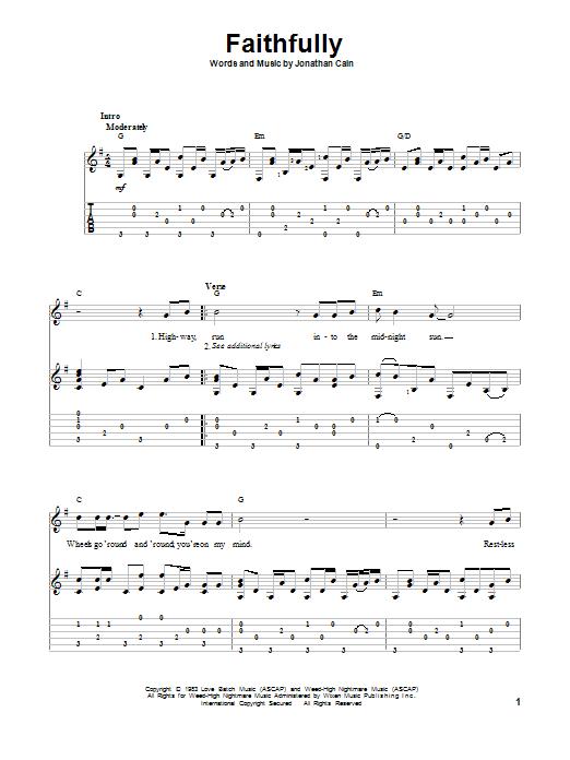 Tablature guitare Faithfully de Journey - Tablature Guitare