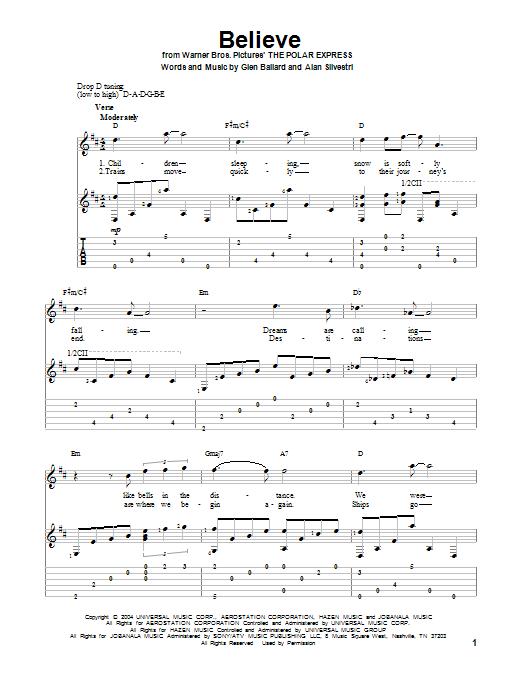 Tablature guitare Believe de Josh Groban - Tablature Guitare