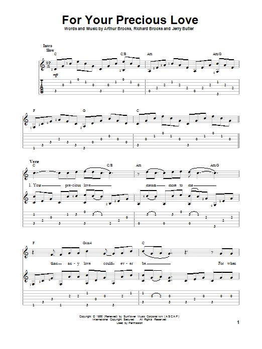 Tablature guitare For Your Precious Love de Jerry Butler & The Impressions - Tablature Guitare