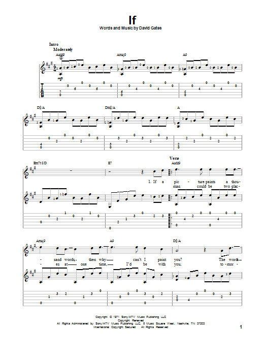 Tablature guitare If de Bread - Tablature Guitare