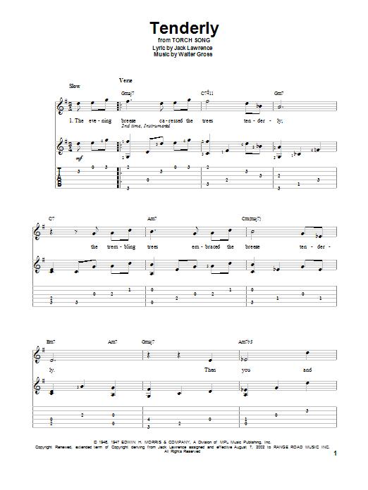 Tablature guitare Tenderly de Walter Gross - Tablature Guitare
