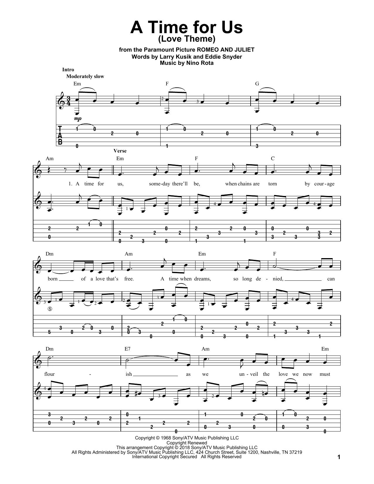 Tablature guitare A Time For Us (Love Theme) de Nino Rota - Tablature Guitare