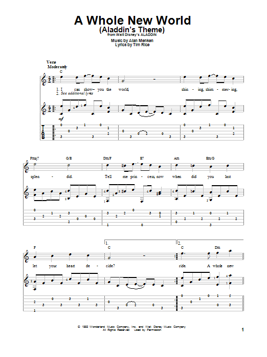 Tablature guitare A Whole New World (Aladdin's Theme) de Peabo Bryson and Regina Belle - Tablature Guitare