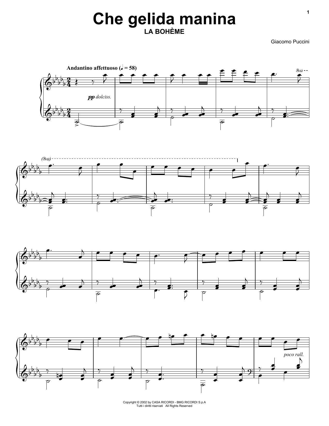 Partition piano Che gelida manina from La Bohème de Giacomo Puccini - Piano Solo