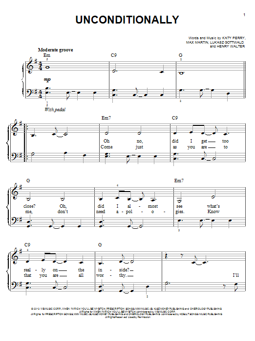 Sheet Music Digital Files To Print - Licensed Katy Perry Digital ...