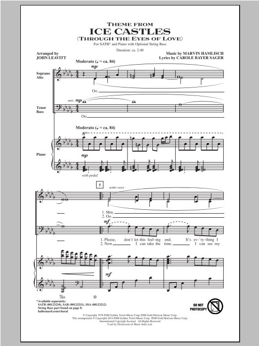 Partition chorale Theme From Ice Castles (Through The Eyes Of Love) de Carole Bayer Sager - SATB