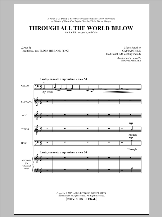 Partition chorale Through All The World Below de Howard Helvey - SATB
