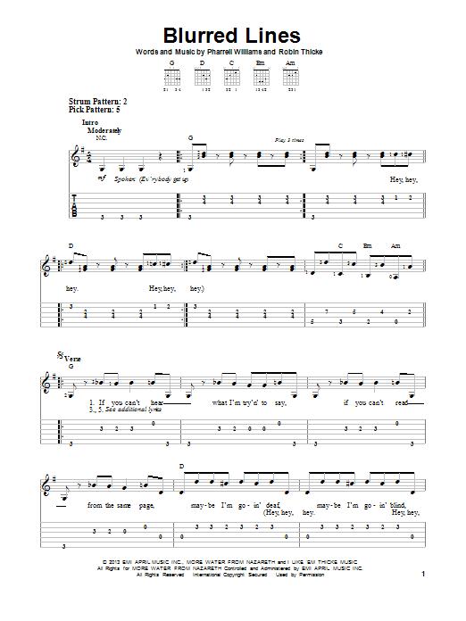 Tablature guitare Blurred Lines de Robin Thicke - Tablature guitare facile