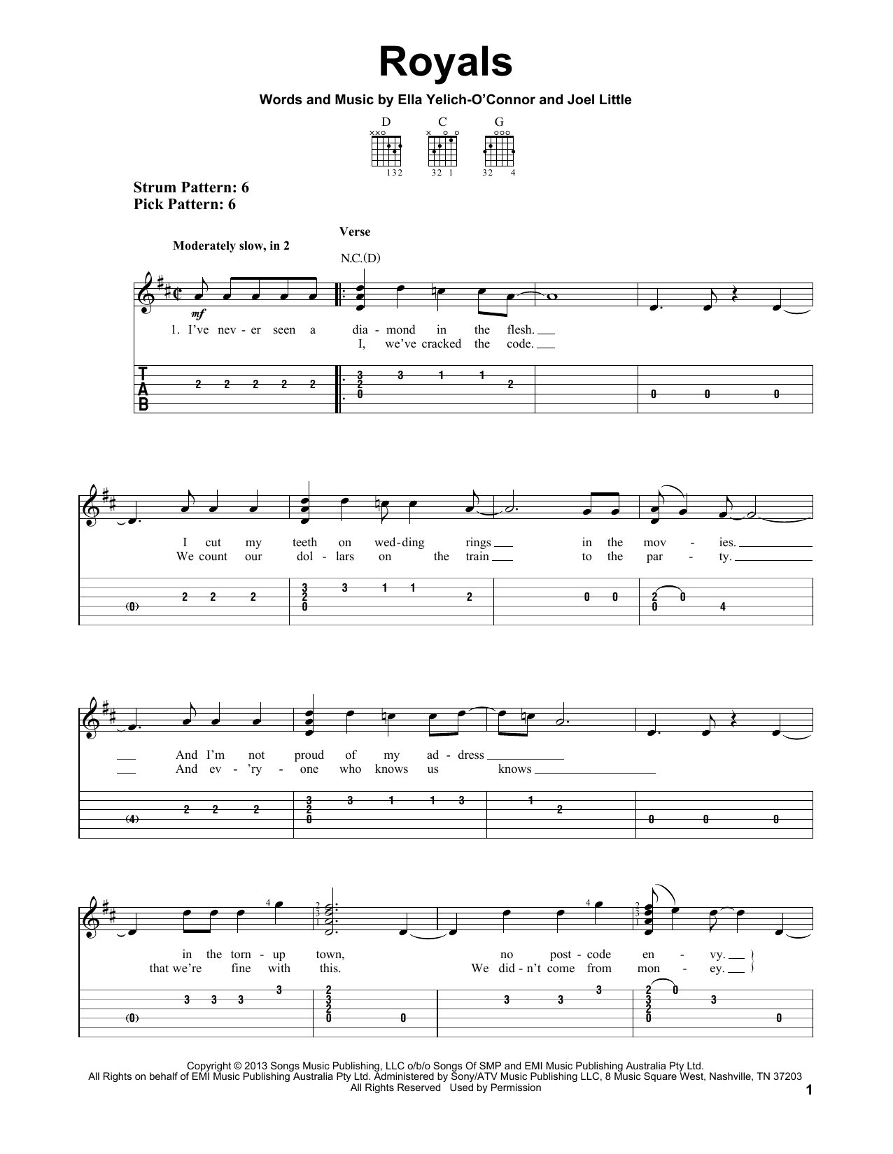 Tablature guitare Royals de Lorde - Tablature guitare facile