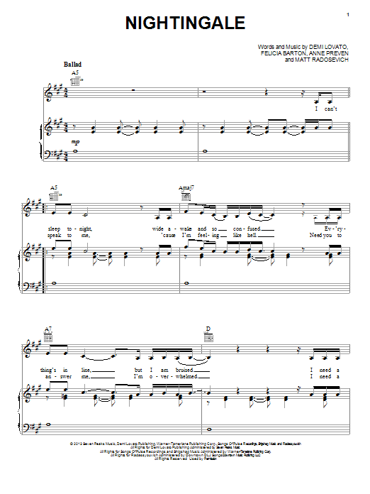 Partition piano Nightingale de Demi Lovato - Piano Voix Guitare (Mélodie Main Droite)