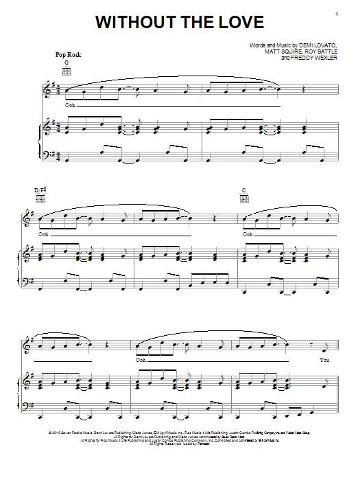 Partition piano Without The Love de Demi Lovato - Piano Voix Guitare (Mélodie Main Droite)