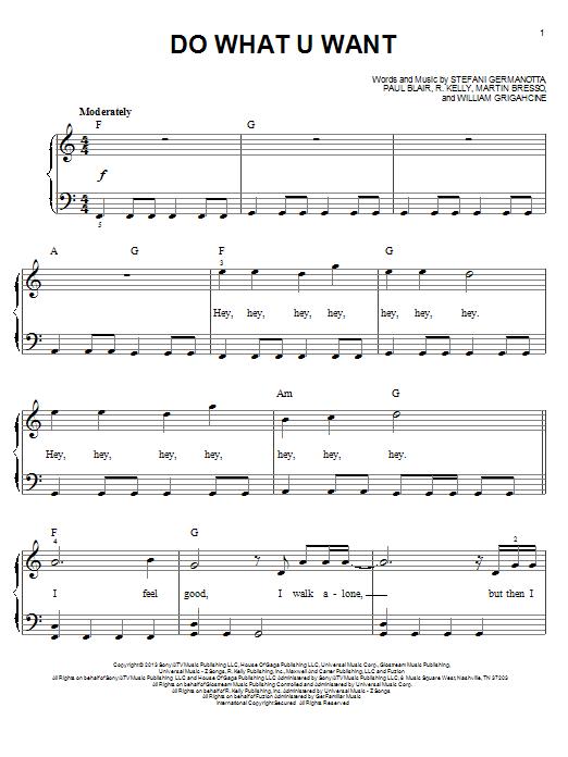 Partition piano Do What U Want de Lady Gaga - Piano Facile