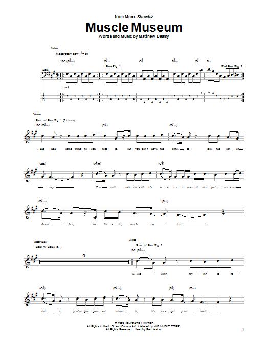 Tablature guitare Muscle Museum de Muse - Tablature Basse
