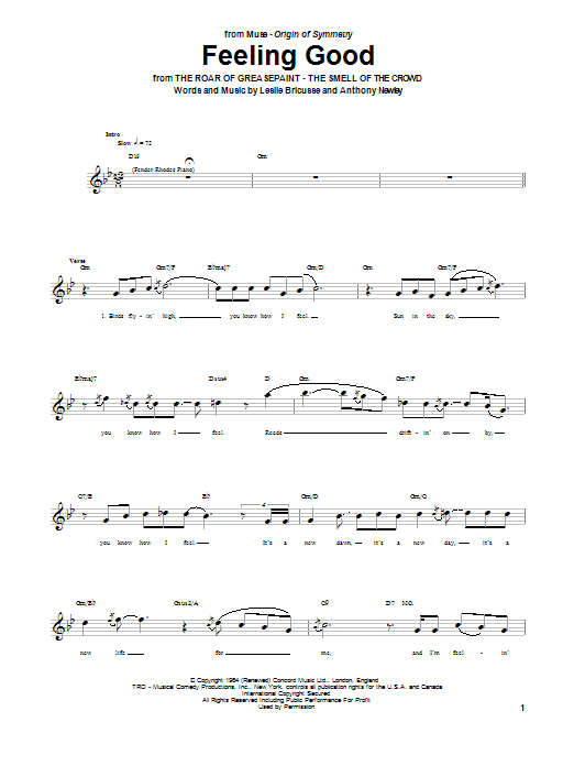 Tablature guitare Feeling Good de Muse - Tablature Basse