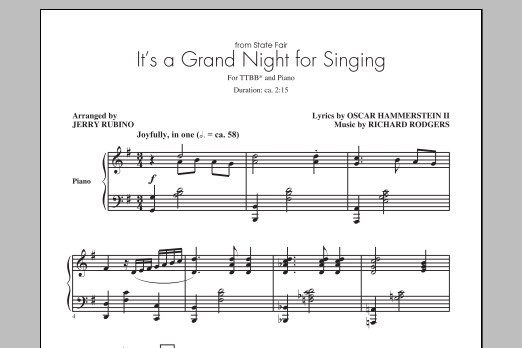 Partition chorale It's A Grand Night For Singing (arr. Jerry Rubino) de Richard Rodgers - TTBB