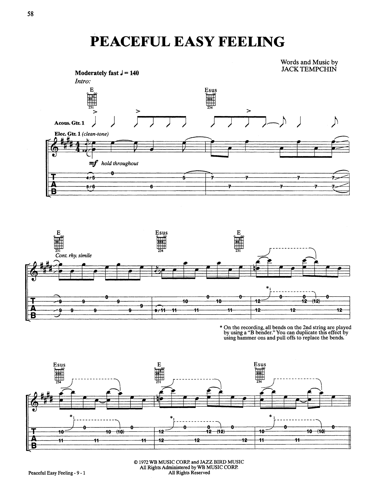 Tablature guitare Peaceful Easy Feeling de Eagles - Tablature Guitare
