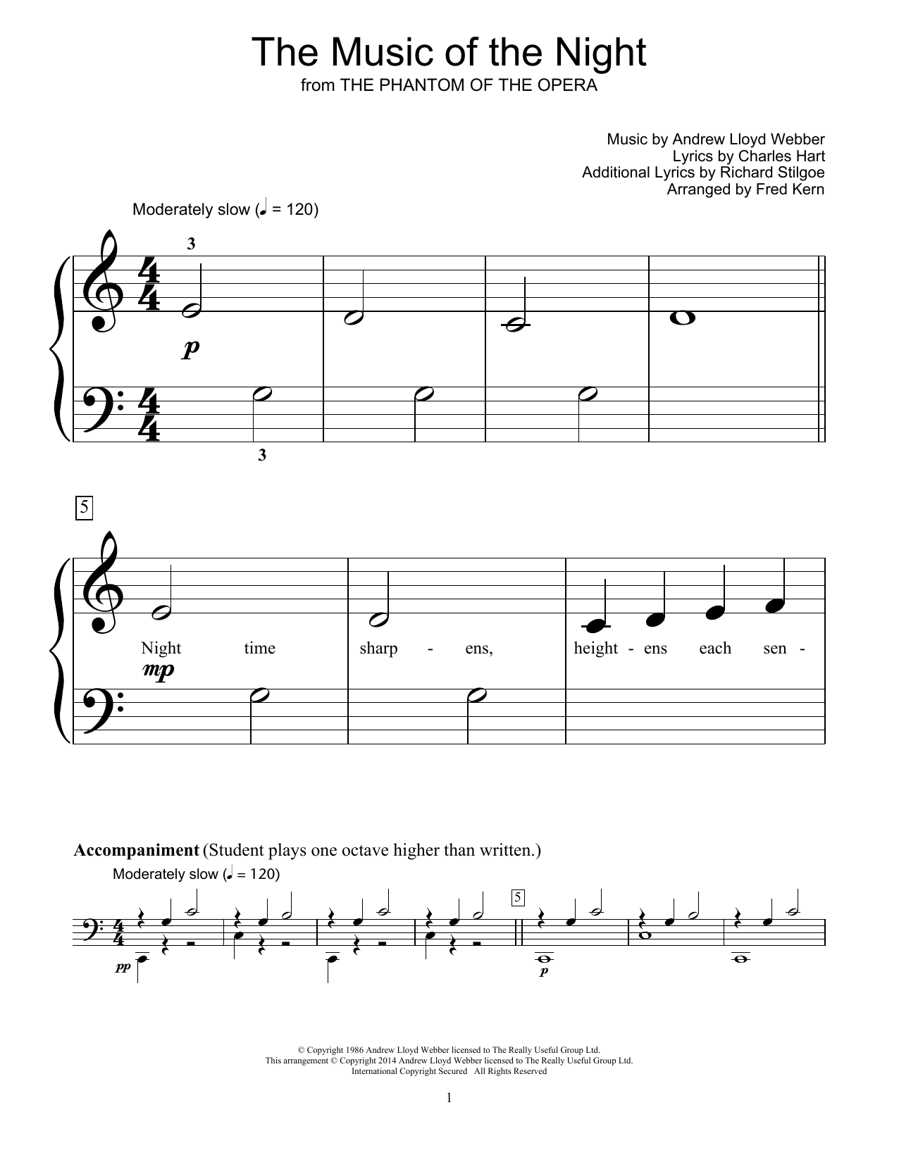 Partition piano The Music Of The Night de Fred Kern - Piano Facile