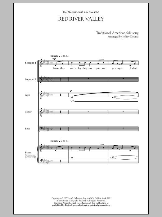 Partition chorale Red River Valley (arr. Jeffrey Douma) de Traditional - SATB