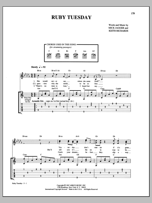 Tablature guitare Ruby Tuesday de The Rolling Stones - Tablature Guitare