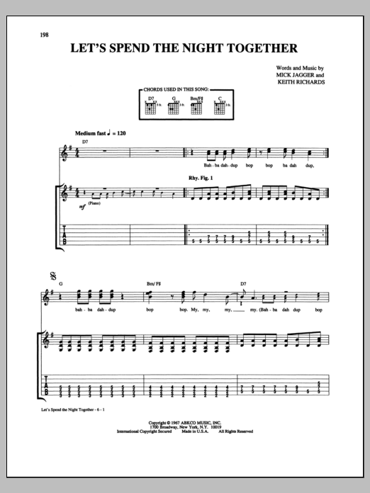 Tablature guitare Let's Spend The Night Together de The Rolling Stones - Tablature Guitare