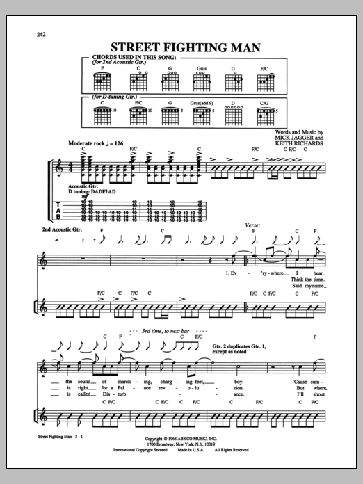 Tablature guitare Street Fighting Man de The Rolling Stones - Tablature Guitare