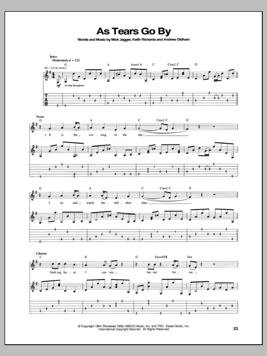 Tablature guitare As Tears Go By de The Rolling Stones - Tablature Guitare