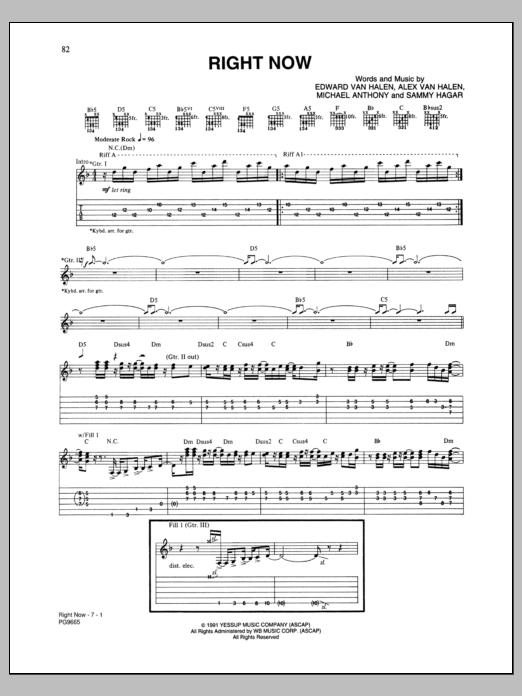 Van Halen Right Now Piano Pdf Home / Van Halen / Right Now