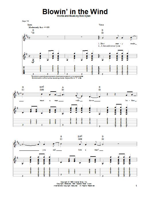 Tablature guitare Blowin' In The Wind de Bob Dylan - Tablature Guitare