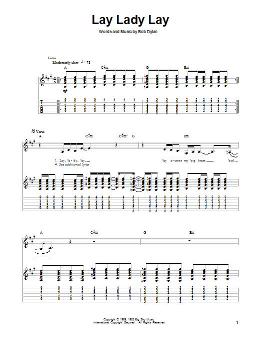 Tablature guitare Lay Lady Lay de Bob Dylan - Tablature Guitare