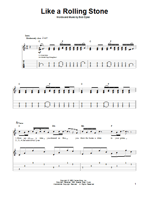 Tablature guitare Like A Rolling Stone de Bob Dylan - Tablature Guitare