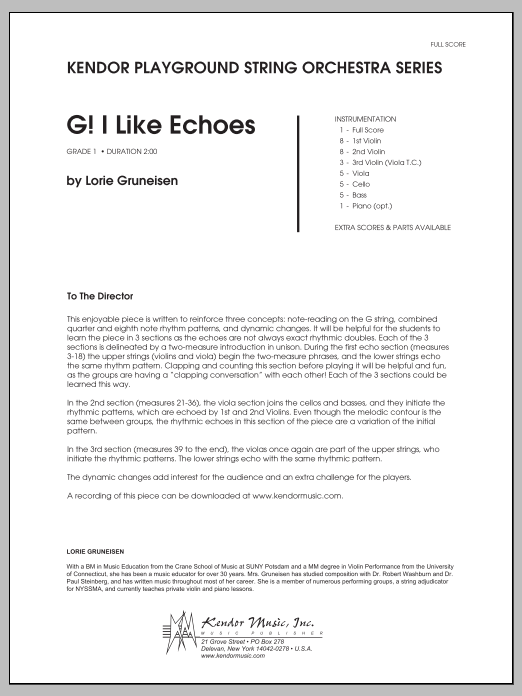 G! I Like Echoes (COMPLETE) sheet music for orchestra by Lorie Gruneisen
