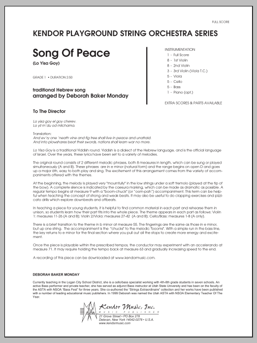 Song Of Peace (Lo Yisa Goy) (COMPLETE) sheet music for orchestra by Deborah Baker Monday