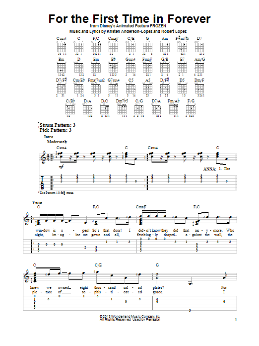 Tablature guitare For The First Time In Forever de Robert Lopez - Tablature guitare facile