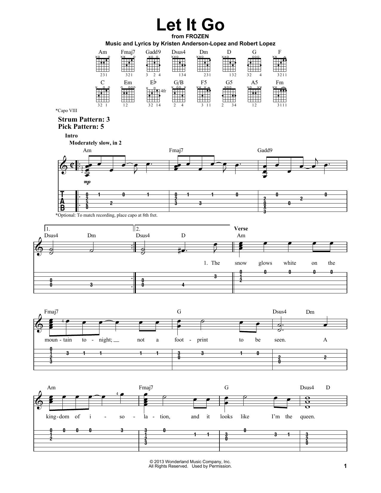 Tablature guitare Let It Go de Idina Menzel - Tablature guitare facile