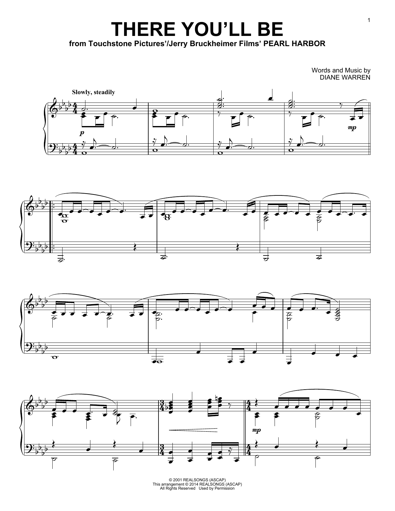Partition piano There You'll Be de Faith Hill - Piano Solo