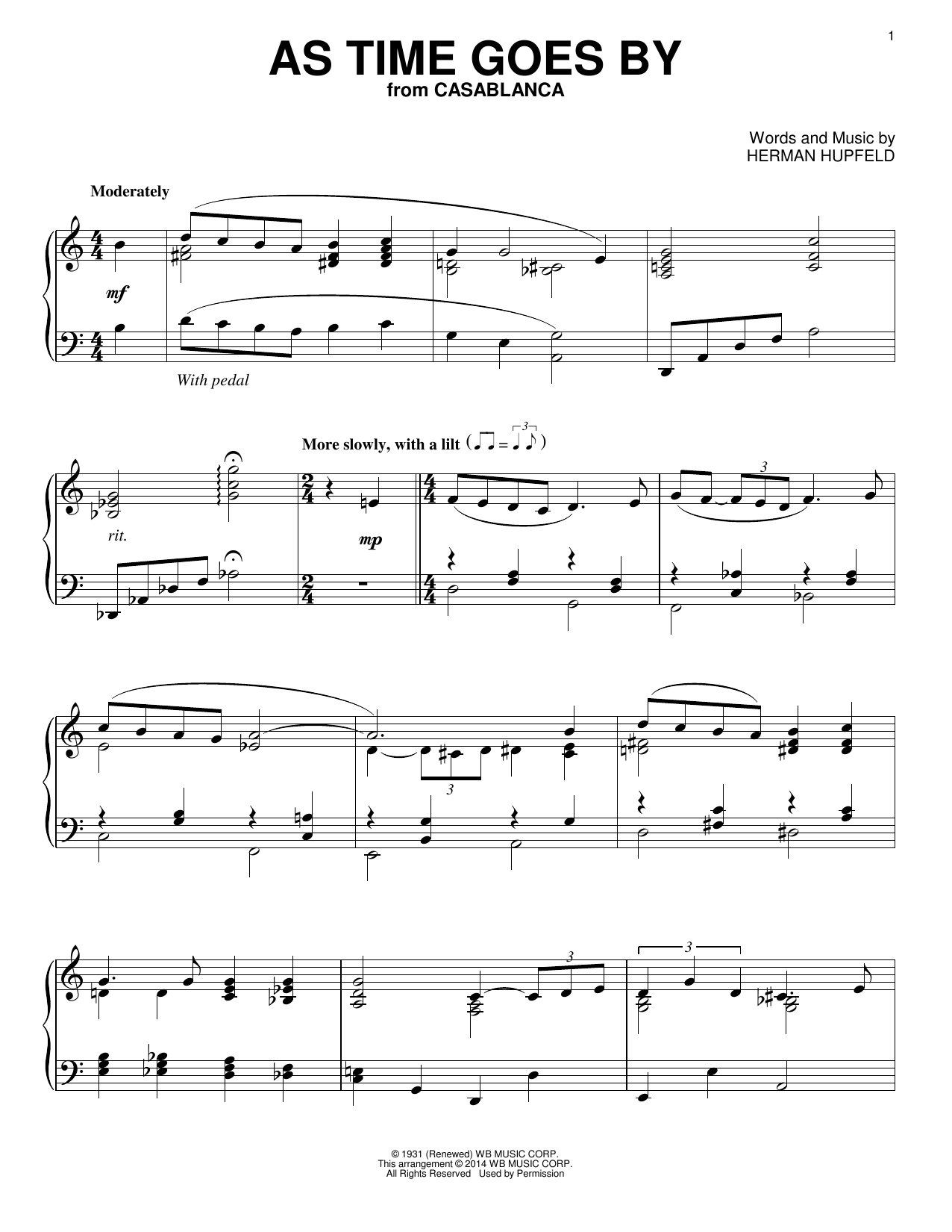 Partition piano As Time Goes By de Nilsson - Piano Solo