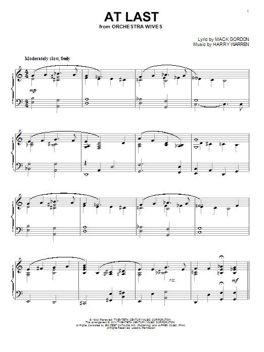 Partition piano At Last de Celine Dion - Piano Solo