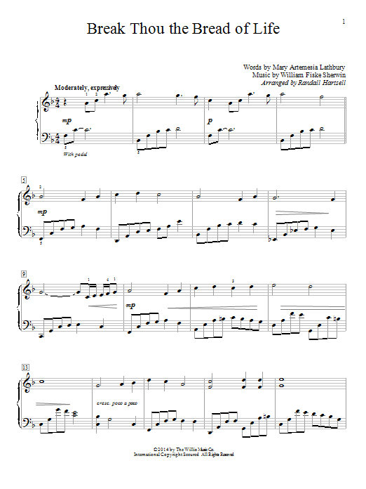 Partition piano Break Thou The Bread Of Life de Randall Hartsell - Piano Facile