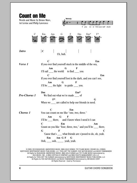 Count On Me sheet music by Bruno Mars (Lyrics u0026 Chords u2013 153318)