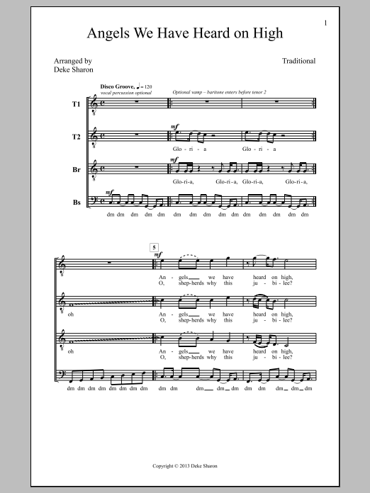 Partition chorale Angels We Have Heard On High (arr. Deke Sharon) de Deke Sharon - TTBB