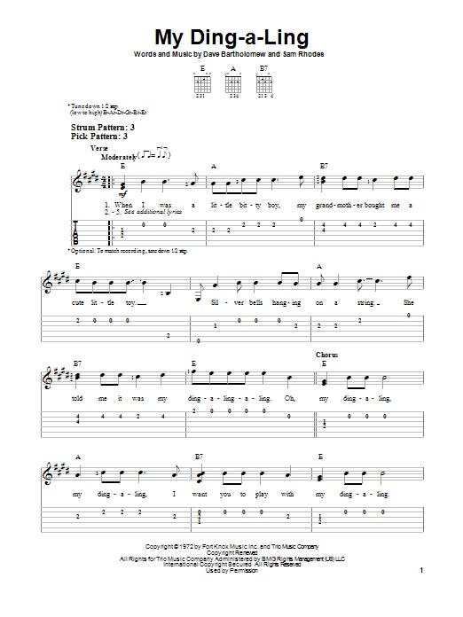 Tablature guitare My Ding-A-Ling de Chuck Berry - Tablature guitare facile